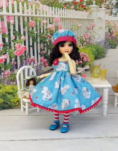 Playful Elephant - dress, hat, tights & shoes for Little Darling Doll or other 33cm BJD