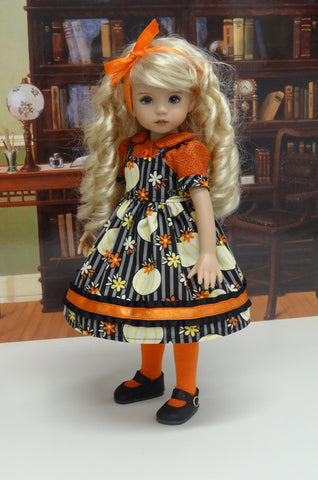 Plentiful Pumpkins - dress, blouse, tights & shoes for Little Darling Doll