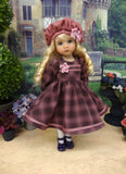 Plum Plaid - dress, hat, tights & shoes for Little Darling Doll or 33cm BJD