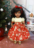 Poinsettia Grandeur - dress, tights & shoes for Little Darling Doll or 33cm BJD