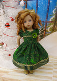 Poinsettia Splendor Emerald - dress, tights & shoes for Little Darling Doll or 33cm BJD