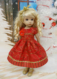 Poinsettia Splendor Ruby - dress, tights & shoes for Little Darling Doll or 33cm BJD