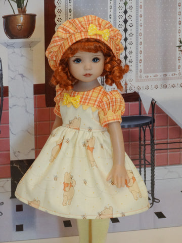 Pooh Bear - dress, hat, tights & shoes for Little Darling Doll or 33cm BJD