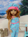 Poolside Flamingo - romper, hat & sandals for Little Darling Doll