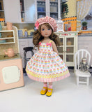 Popsicle Stand - dress, hat, socks & shoes for Little Darling Doll or 33cm BJD