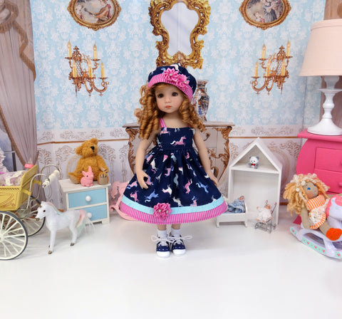 Prancing Unicorn - dress, hat, socks & shoes for Little Darling Doll or 33cm BJD