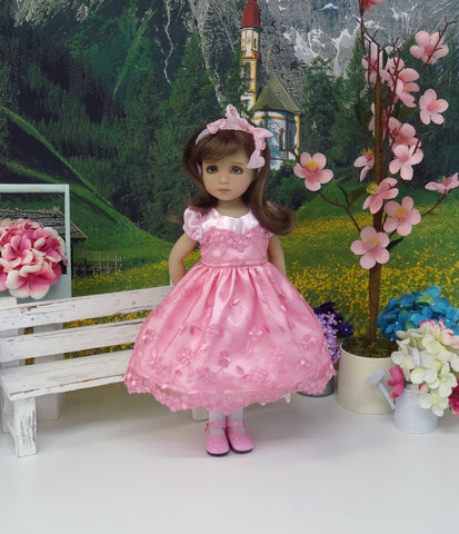 Precious in Pink - dress, slip, tights & shoes for Little Darling Doll or 33cm BJD