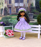 Pretty Columbine - dress, hat, tights & shoes for Little Darling Doll or 33cm BJD