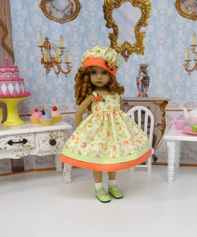Pretty in Peach - dress, hat, socks & shoes for Little Darling Doll or 33cm BJD