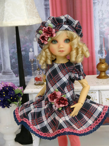 Pretty In Plaid - dress, beret, tights & shoes for Little Darling Doll