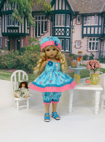 Pretty Owl - babydoll top, bloomers, hat & sandals for Little Darling Doll or 33cm BJD