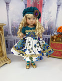 Pretty Peacock - dress, hat, tights & shoes for Little Darling Doll or 33cm BJD