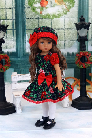 Pretty Poinsettias - dress, hat, tights & shoes for Little Darling Doll or 33cm BJD