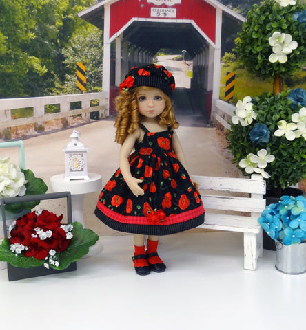 Pretty Poppy - dress, hat, socks & shoes for Little Darling Doll or 33cm BJD