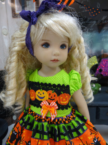 Pumpkin Parade - dress, tights & shoes for Little Darling Doll or 33cm BJD