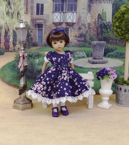 Purple Blossoms - dress, tights & shoes for Little Darling Doll or other 33cm BJD