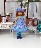 Raining & Pouring - dress, hat, tights & shoes for Little Darling Doll or 33cm BJD