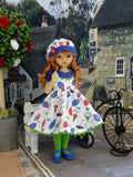 Rain, Rain Go Away - dress, hat, tights & shoes for Little Darling Doll