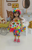 Rainbow Hello Kitty - babydoll top, bloomers, hat & sandals for Little Darling Doll