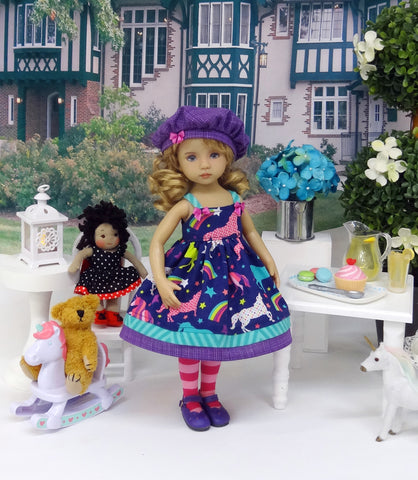 Rainbow Unicorn - dress, hat, tights & shoes for Little Darling Doll or 33cm BJD