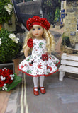 Rainy Day - dress, beret, tights & shoes for Little Darling Doll or other 33cm BJD