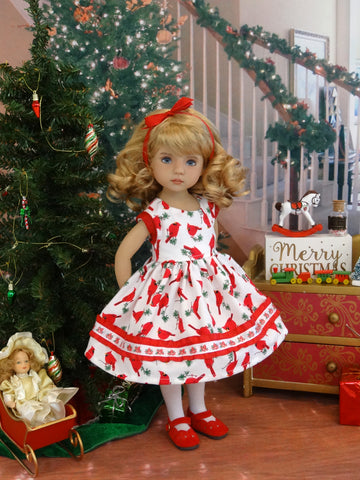 Red Cardinal - dress, tights & shoes for Little Darling Doll or 33cm BJD