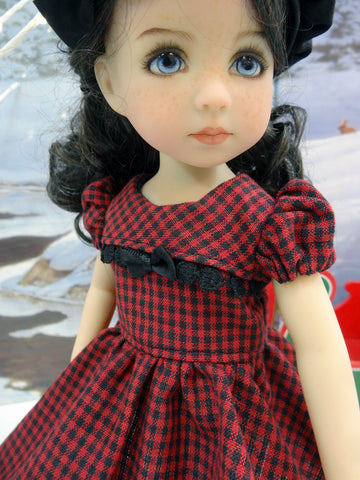 Red Check - dress, hat, tights & shoes for Little Darling Doll or 33cm BJD