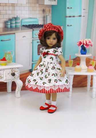 Red Cherries - dress, hat, socks & shoes for Little Darling Doll or 33cm BJD