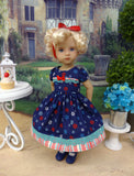 Red, White & Blooms - dress, socks & shoes for Little Darling Doll or 33cm BJD