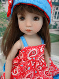 Red, White & Paisley - dress, hat, socks & shoes for Little Darling Doll or other 33cm BJD
