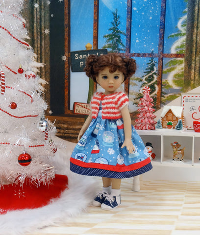 Reindeer Snow Globe - dress, sweater, socks & shoes for Little Darling Doll or 33cm BJD