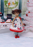 Retro Snowman - dress, tights & shoes for Little Darling Doll or 33cm BJD