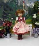 Romantic Bavarian Rose - dirndl ensemble with tights & boots for Little Darling Doll or 33cm BJD