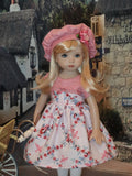 Rose Trellis - dress, hat, tights & shoes for Little Darling Doll or 33cm BJD