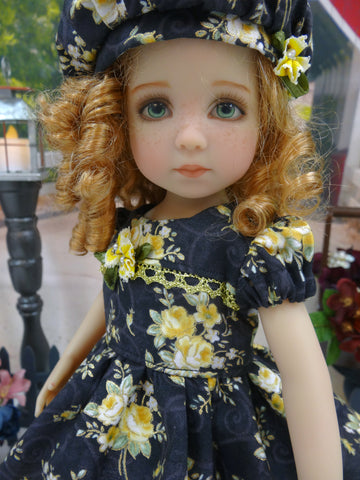 Roses in Fall - dress, hat, tights & shoes for Little Darling Doll or 33cm BJD