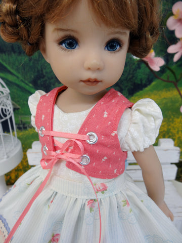 Rothenburg Rose - dirndl ensemble with tights & boots for Little Darling Doll or 33cm BJD