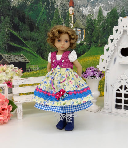 Salzburg Miss - dirndl ensemble with tights & boots for Little Darling Doll or 33cm BJD