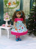 Santa's Toy Shoppe - dress, tights & shoes for Little Darling Doll or other 33cm BJD