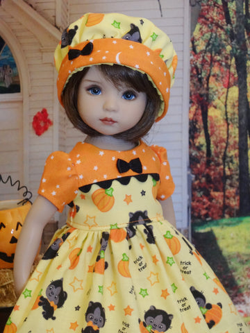 Scaredy Cat - dress, hat, tights & shoes for Little Darling Doll or 33cm BJD