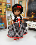 School Girl Plaid - dress, vest, beret, socks & shoes for Little Darling Doll or 33cm BJD