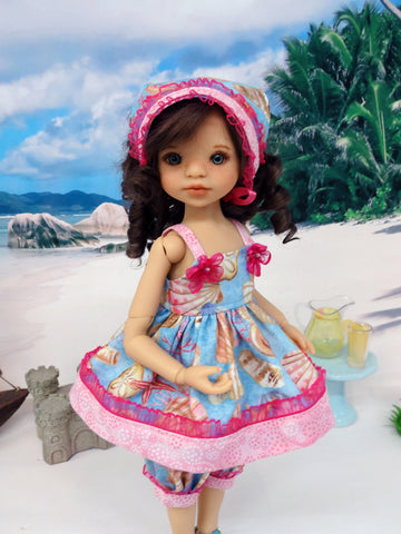 Seashore - babydoll top, bloomers, kerchief & sandals for Little Darling Doll