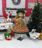 Seasonal Holly - dress, hat, tights & shoes for Little Darling Doll or 33cm BJD