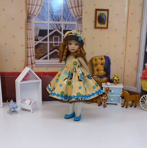 Season's End - dress, hat, tights & shoes for Little Darling Doll or other 33cm BJD