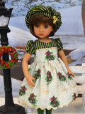 Season's Greetings - dress, hat, tights & shoes for Little Darling Doll or 33cm BJD