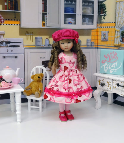 Secret Love - dress, hat, tights & shoes for Little Darling Doll or 33cm BJD