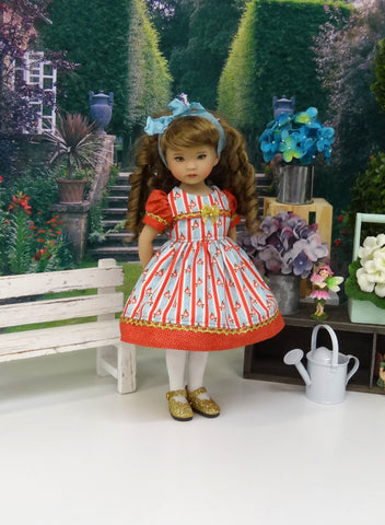 September Floral - dress, tights & shoes for Little Darling Doll or 33cm BJD
