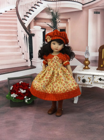 September Spice - dress, beret, tights & shoes for Little Darling Doll or other 33cm BJD
