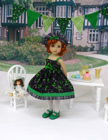 Shamrock Swirl - dress, hat, tights & shoes for Little Darling Doll or 33cm BJD