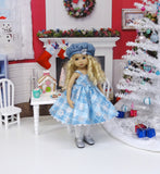 Silver Snowflake - jacket, hat, dress, tights & shoes for Little Darling Doll or 33cm BJD