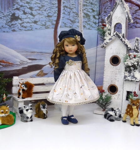 Snow Birds - dress, hat, tights & shoes for Little Darling Doll or 33cm BJD